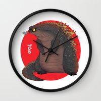 godzilla Wall Clocks featuring GODZILLA by olivier silven