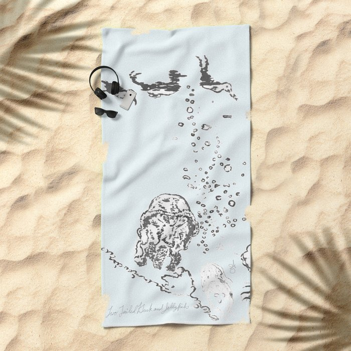 Two Tailed Duck and Jellyfish Pale Blue Beach Towel