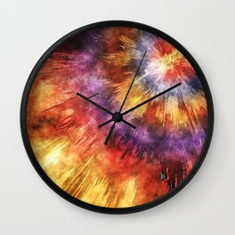 Colorful Tie Dye Rings Wall Clock