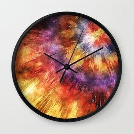Colorful Tie Dye Rings Wall Clock