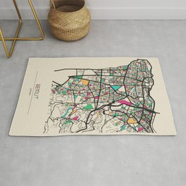Colorful City Maps: Beirut, Lebanon Rug