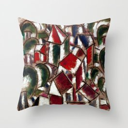 Village in the Forest, Paris, France landscape painting by Fernand Leger Throw Pillow