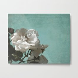 Vintage Inspired White Roses on Aqua Blue Green Metal Print