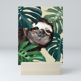 Sneaky Sloth with Monstera Mini Art Print