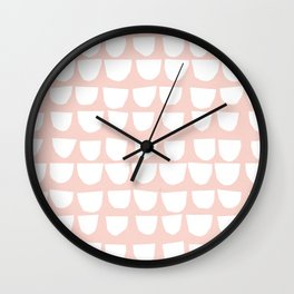 White Scallop on Pink Wall Clock