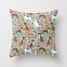 Boxer dog breed florals mint pastel turquoise cute pet portrait animal fur baby must have gifts  Throw Pillow