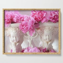 Pink White Cottage Peonies Cherubs Floral Prints Home Decor Serving Tray