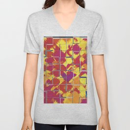 Squares Red & Yellow Abstract Unisex V-Neck