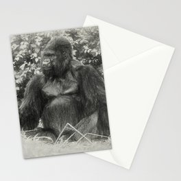 Male gorilla sitting on the ground Stationery Cards