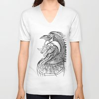 dragon V-neck T-shirts featuring Dragon. by sonigque