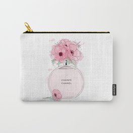 Round Pink Perfume with Flowers Carry-All Pouch