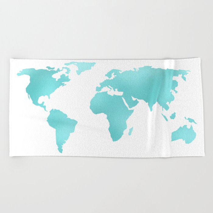 World Map Turquoise Shimmery Map Beach Towel