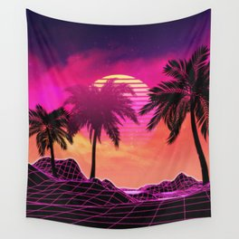 Pink vaporwave landscape with rocks and palms Wall Tapestry