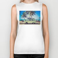 vw bus Biker Tanks featuring VW Bus Beach Vacation by Limitless Design