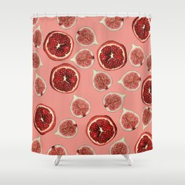Figs - Pomegranate - coral Shower Curtain
