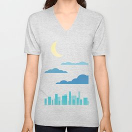 Moon, Clouds and City Unisex V-Neck