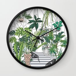 greenhouse illustration Wall Clock