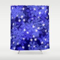 fireflies Shower Curtains featuring Fireflies by Heleen van Buul