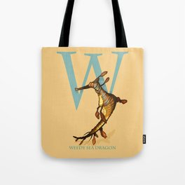 W is for Weedy Sea Dragon: Under Appreciated Animals™ ABC nursery decor orange unusual animals Tote Bag