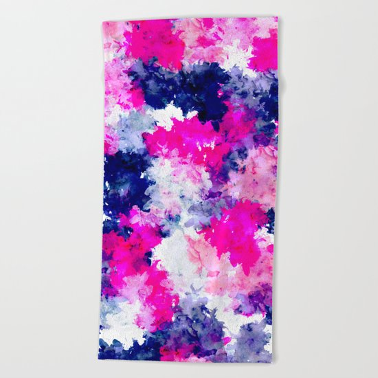 Hand painted pink purple watercolor abstract brushstrokes  Beach Towel