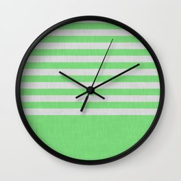 Green and gray color block and stripes Wall Clock