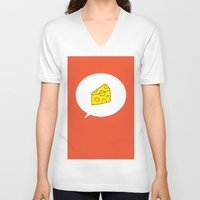 cheese V-neck T-shirts featuring cheese by ariel kotzer