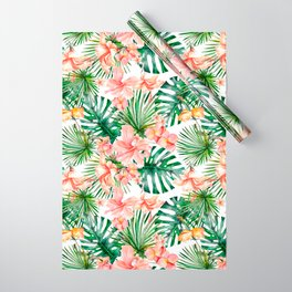 Tropical Jungle Hibiscus Flowers - Floral Wrapping Paper