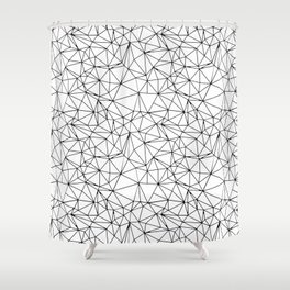 Mosaic Triangles Repeat Seamless Pattern Black and White Shower Curtain