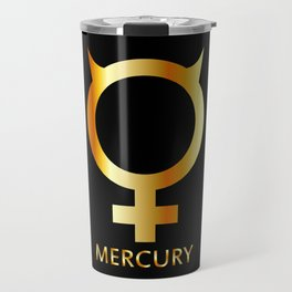 Zodiac and astrology symbol of the planet Mercury in gold colors- astronomical icon Travel Mug