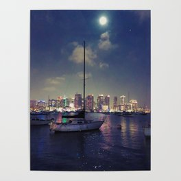 San Diego by Night - Oil Poster