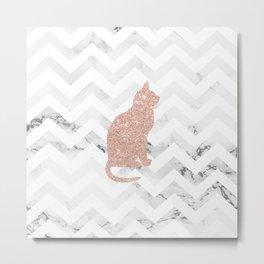 Modern rose gold glitter cat on white marble chevron pattern Metal Print