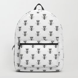 Queen Bee | Vintage Bee with Crown | Black and White | Backpack