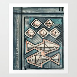 Five bread and two fish religious painting Art Print