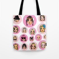 britney spears Tote Bags featuring CartooNEY - Britney Spears Cartoons by Eduardo Sanches Morelli