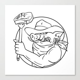 Cowboy Wild Pig Holding Barbecue Steak Drawing Black and White Canvas Print