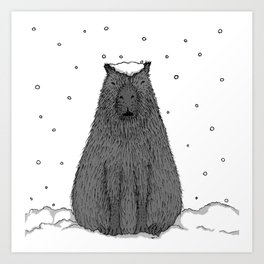Capybara and Snow Art Print