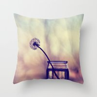 dandelion Throw Pillows featuring dandelion by Ingrid Beddoes