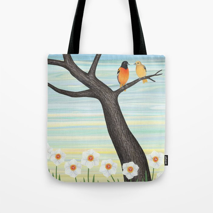 Orioles and daffodils Tote Bag