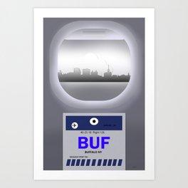 Buffalo - BUF -Airport Code & Skyline Art Print
