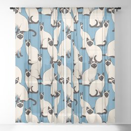 Siamese Cats crowd on blue Sheer Curtain