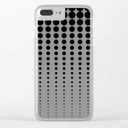 Reduced Black Polka Dots Pattern on Solid Pantone Pewter Background Clear iPhone Case