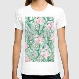 Blush pink  green pine tree modern floral T-shirt