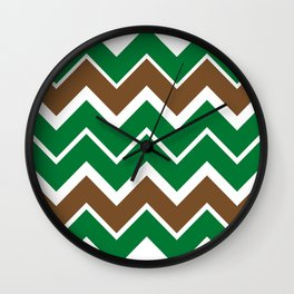 Big Chevron:  Kelly Green + Chocolate Brown Wall Clock