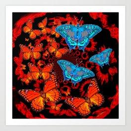 Decorative Blue Moths Orange Butterflies  Design Art Print