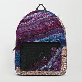Violet fire agate - rose gold glitter Backpack