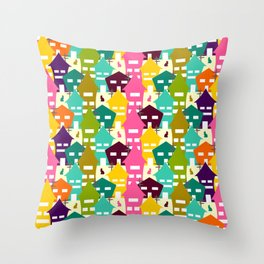 Colorful houses and cats Throw Pillow
