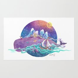 Penguins travel across the sky ocean on a purple whale island and sailboat Rug