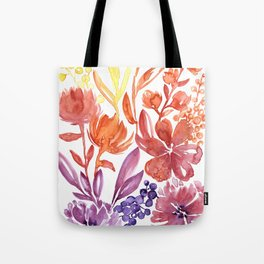 Floral abstract and colorful watercolor illustration Tote Bag