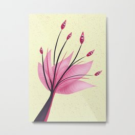 Pink Abstract Water Lily Flower Metal Print