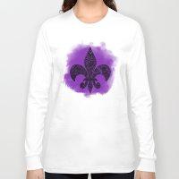 fleur de lis Long Sleeve T-shirts featuring Purple Fleur De Lis by Riaora Creations
